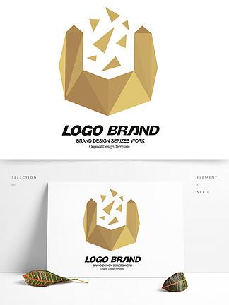 金色U字母建筑地产房产logo标志设计