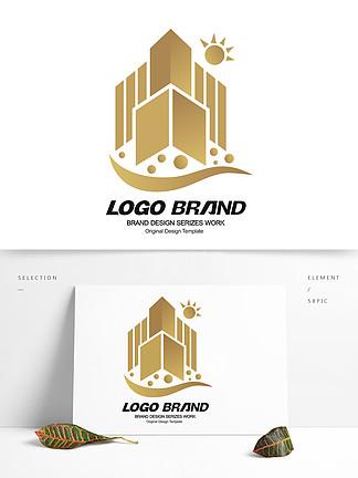 金色创意建筑地产房产logo标志设计