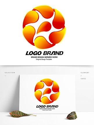 簡約J字母紅色花瓣公司LOGO標志設計