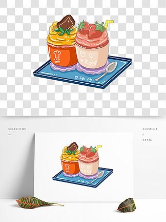 原创可爱卡通小清新水果冰沙甜品手绘元素
