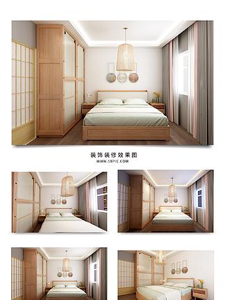 原木和风现代简约卧室效果图