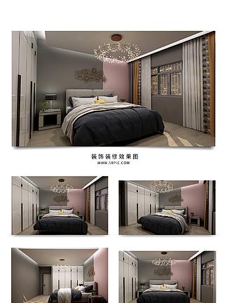 现代简约温馨卧室效果图