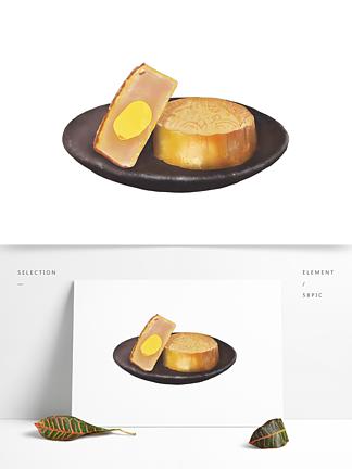 创意卡通手绘中秋节美食蛋黄月饼元素