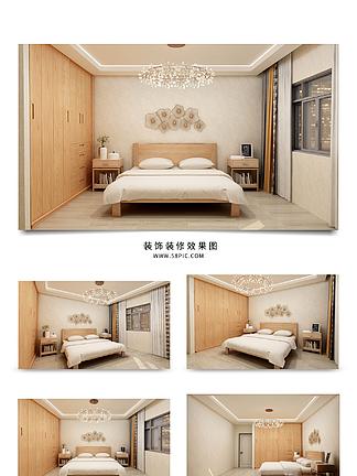 原木风现代简约卧室风格