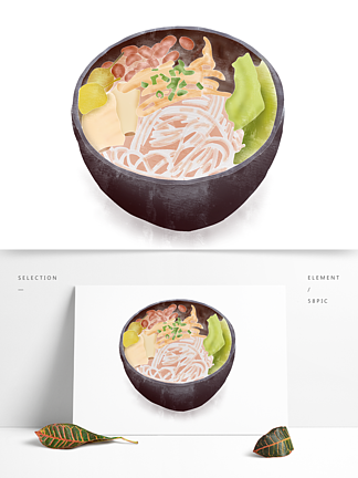 创意卡通手绘柳州美食螺蛳粉元素