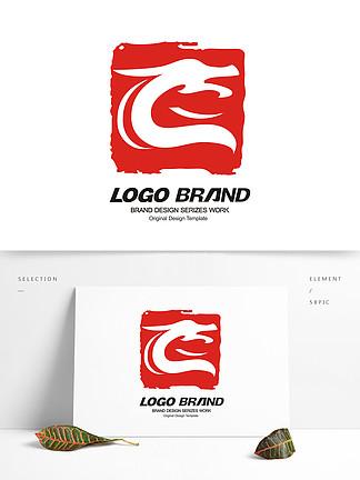 創意紅色印章飛龍LOGO標志設計