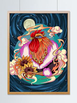 手绘插画十二生肖之酉鸡