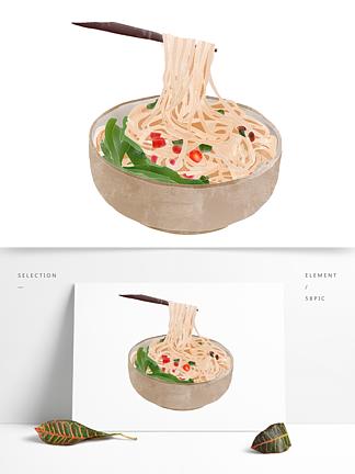 创意卡通手绘一碗荞麦面条元素