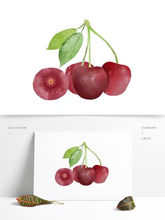 创意卡通手绘新鲜水果大红樱桃元素