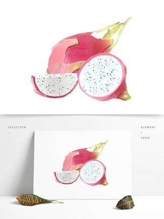 创意卡通手绘新鲜水果火龙果元素