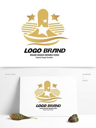 矢量金色星形房产公司LOGO标志设计