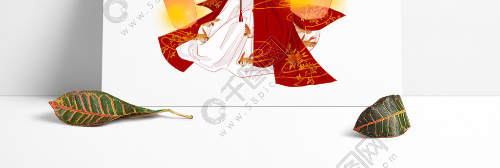 复古中国风传统民俗中元节放孔明灯