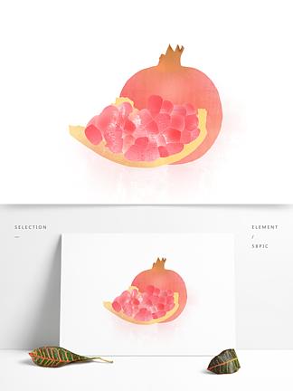 创意卡通手绘新鲜水果红石榴元素
