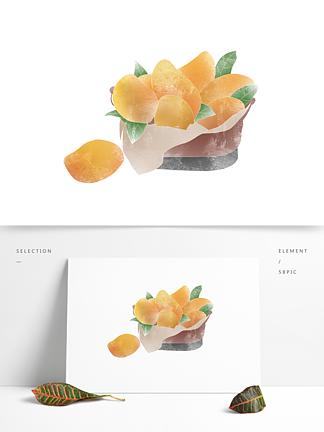 创意卡通手绘一筐芒果水果元素