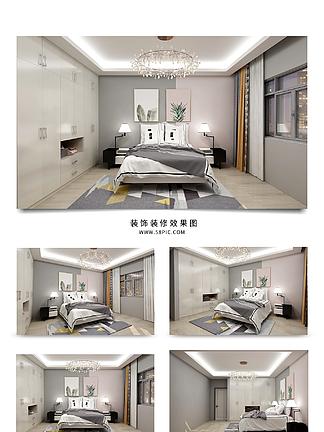 现代简约撞色卧室背景墙清新卧室效果图