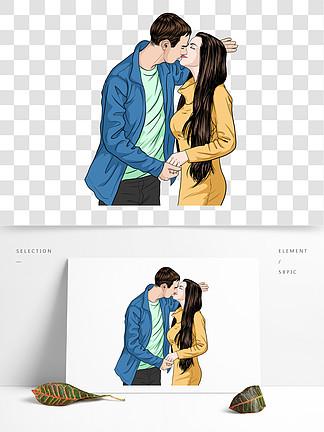 手绘风接吻的情侣可商用