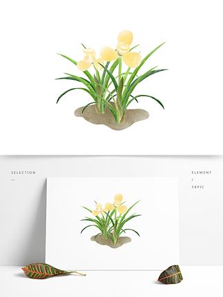 创意卡通手绘绿色植物黄色花朵元素