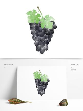 创意卡通手绘新鲜水果一串葡萄元素