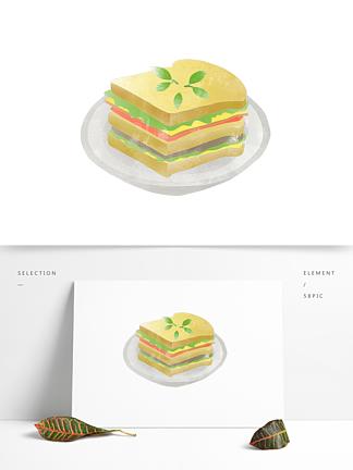 创意卡通手绘早餐美食蔬菜三明治元素