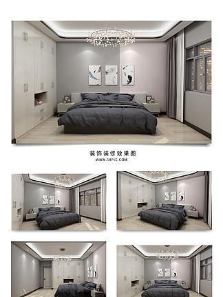 现代简约黑白灰卧室效果图