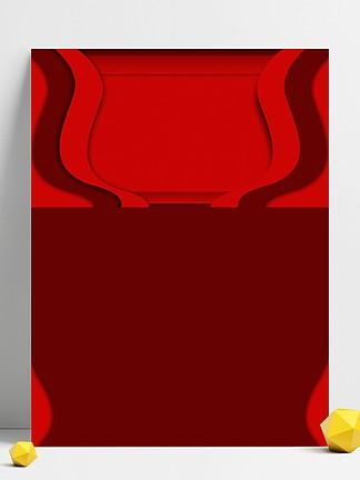 红色天猫灯饰节线条背景素材