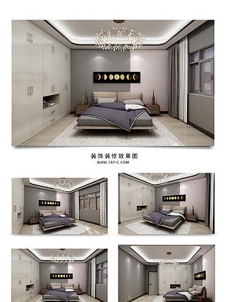 现代简约风格时尚卧室效果图