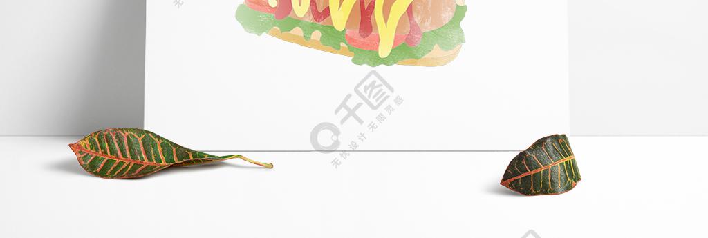 创意卡通手绘美食热狗蔬菜三明治元素