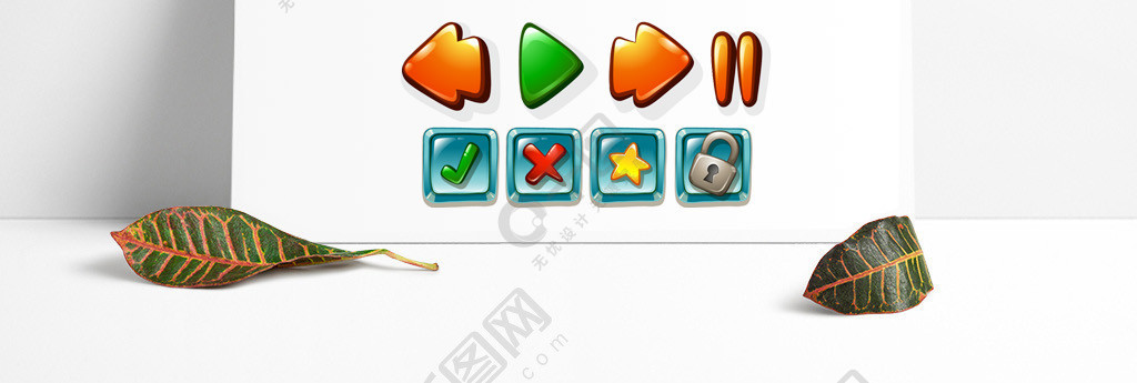 手绘矢量游戏按钮装饰元素