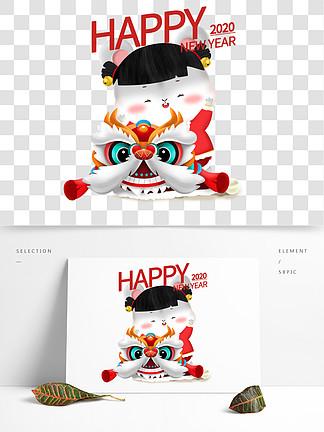 2020鼠年立體鼠可愛卡通女孩福娃舞獅