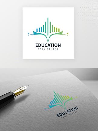 高級漸變創意教育書本logo