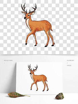 手绘风麋鹿可商用