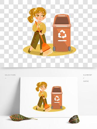 掃地環保垃圾分類女生png素材