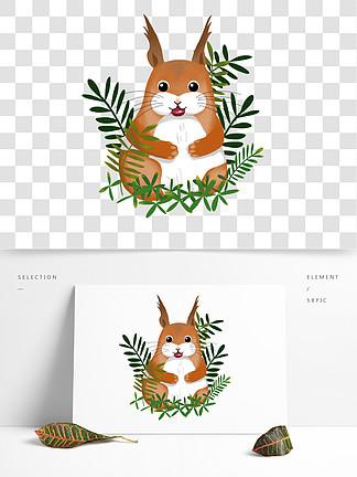 秋季小松鼠手绘风可爱卡通叶子