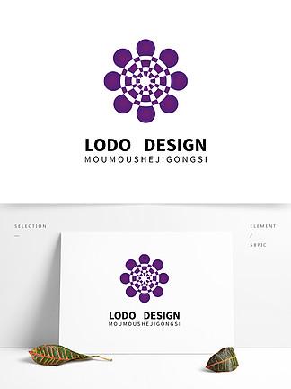 原創紫色圓形自媒體多媒體大氣logo