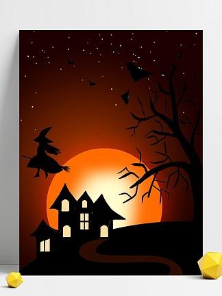 卡通黑色萬圣節夜晚月亮城堡背景