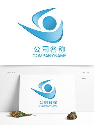 原創藍色簡約公司logo