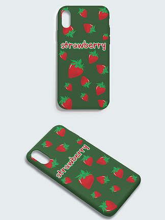 原創撞色平鋪小清新草莓手機殼
