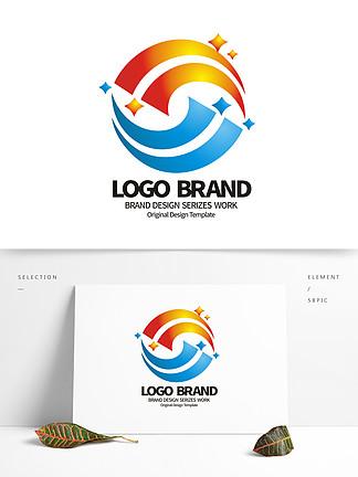 矢量紅藍線條S字母星形公司LOGO設計