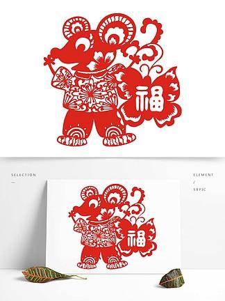 中國風老鼠福剪紙