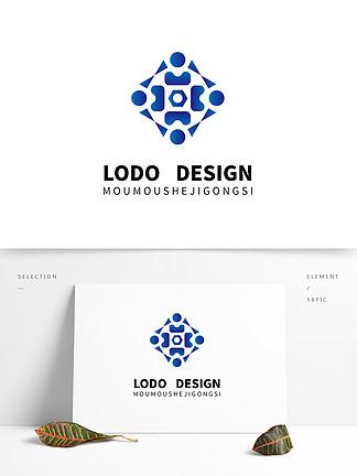 原創藍色自媒體科技logo