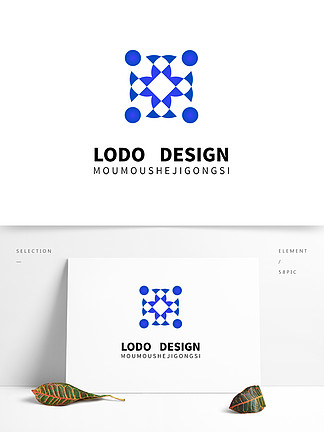 原創藍色幾何圖案logo合計