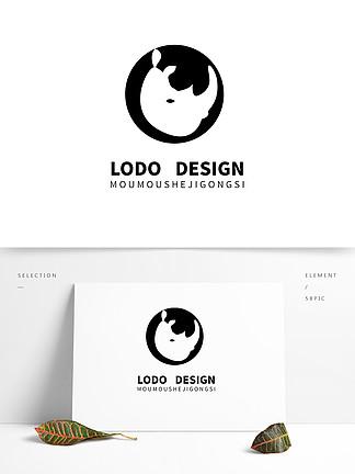 原創卡通犀牛抽象圖形寵物店logo合計