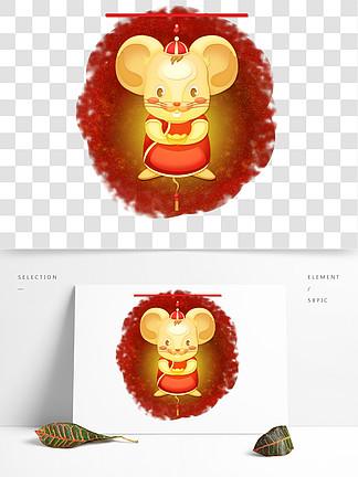 吉祥金鼠燈籠剪紙風