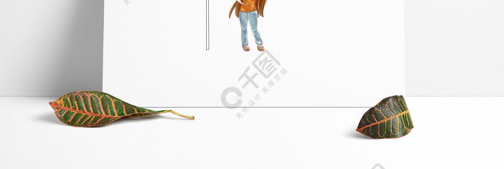 手繪卡通可愛Q版小清新女孩紅旗人物