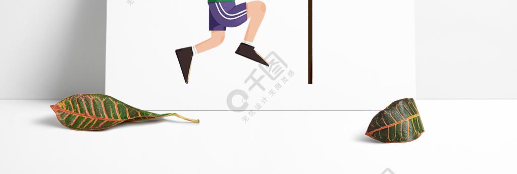 打籃球的短發小孩手繪圖案