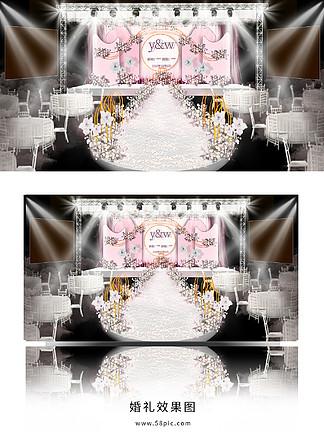 白粉色<i>婚</i><i>礼</i>效果图设计