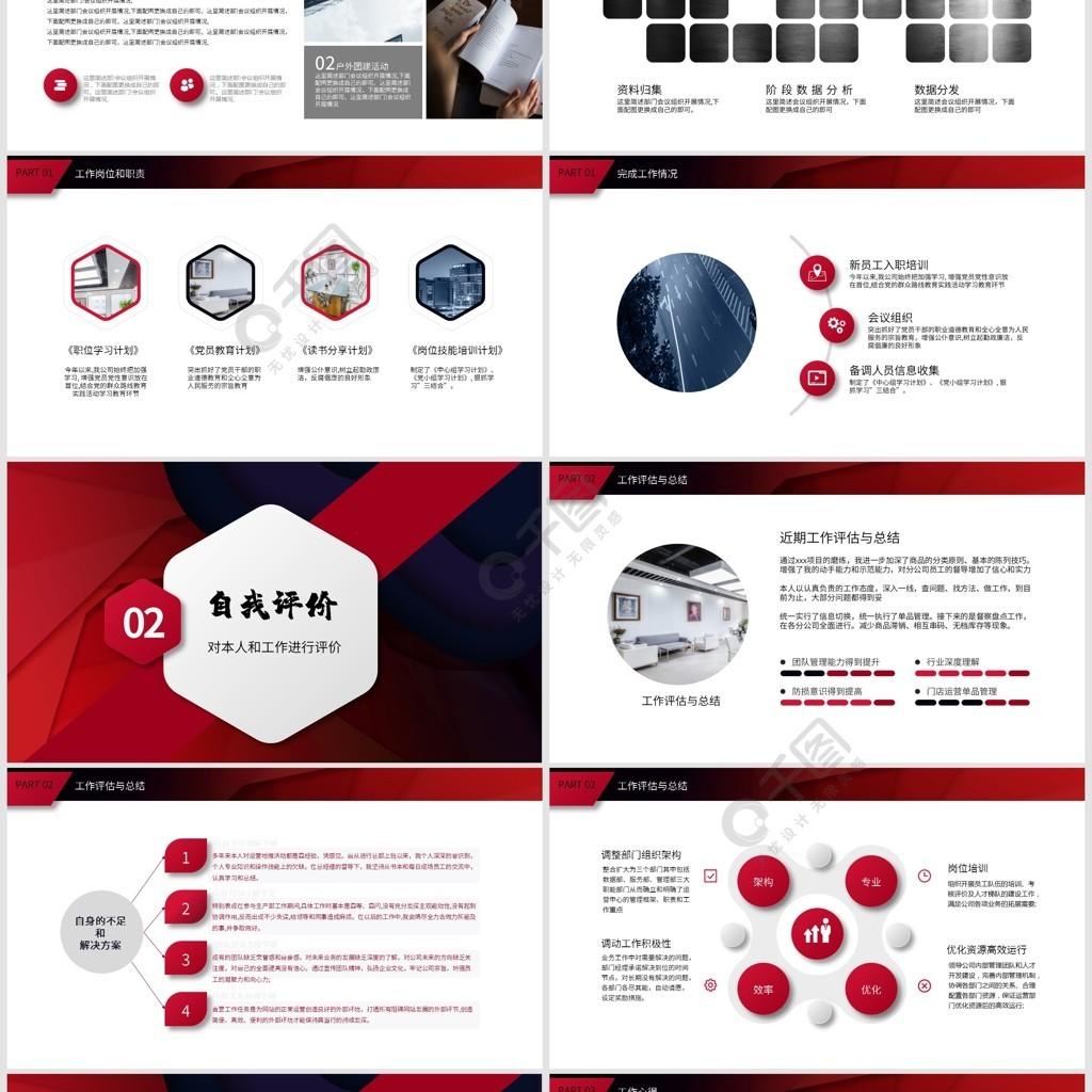 內容型紅黑微粒體年終報告PPT模板
