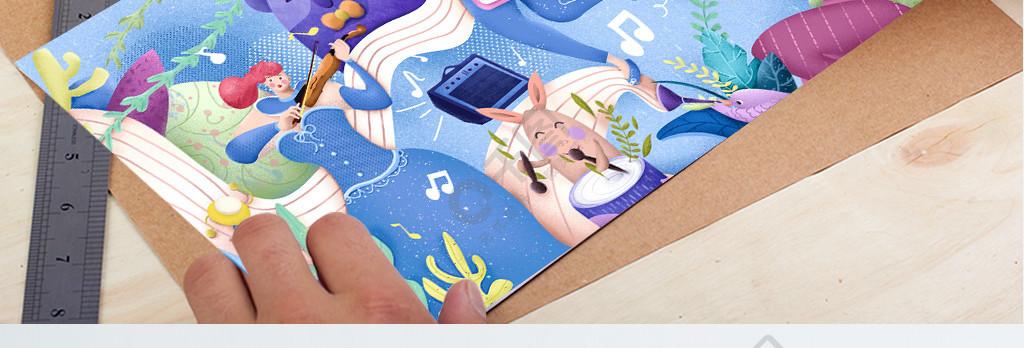 扁平肌理噪點小清新藍色調音樂節插畫
