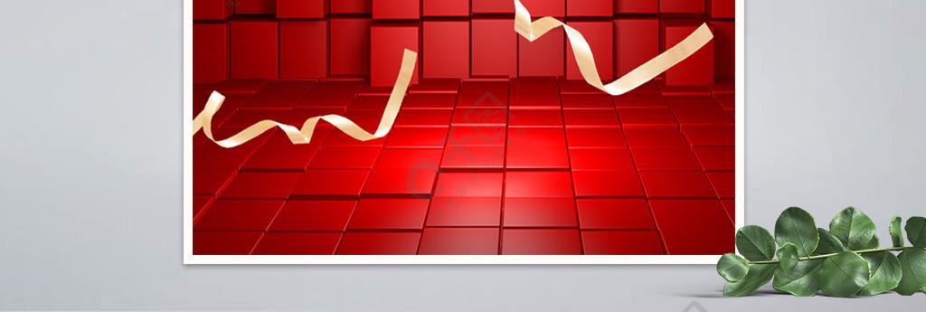紅色霓虹燈立體雙11預售大促淘寶天貓海報