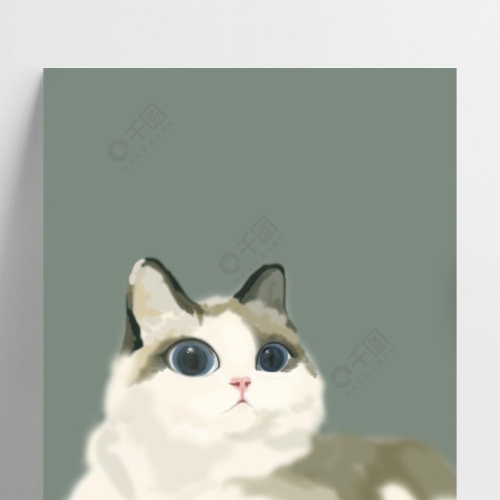 粉綠色背景手繪可愛貓咪